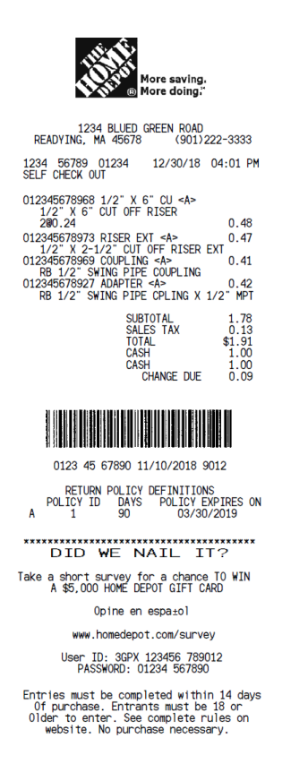 The Home Depot Receipt Template 1