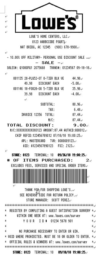 Lowe's Receipt Template_Receipt Font, Real Invoice Font, Store POS Printer Font, Voucher Font