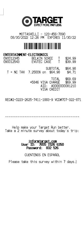 Target Receipt Template 1
